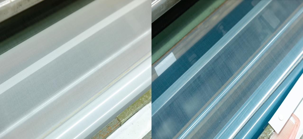 織機で織られていた生地。左が川俣シルクの通常の生地。右がフェアリー・フェザー。