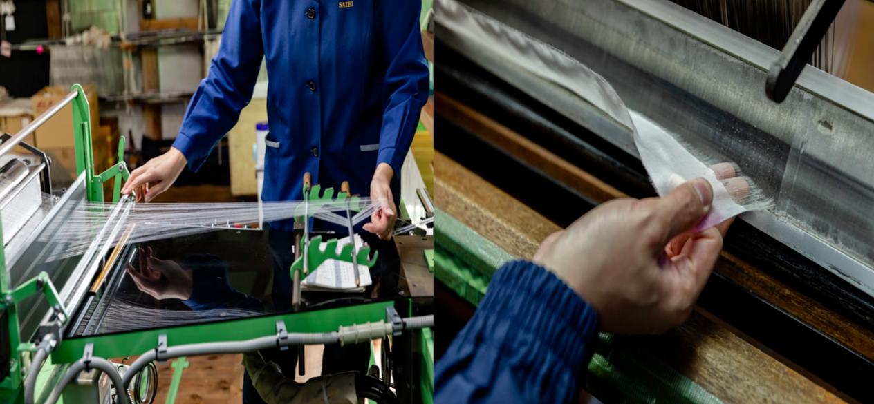職人は、手の感覚で糸を操る。感覚もないくらいの細さを操るのはそれだけでも至難の技。写真左の作業で、必要な織物の長さに合わせた糸をまとめ、1本に繋ぎ合わせていく。右は織機に糸をかける前、人の手で3mの針金の穴に決まった順番で、1万本の糸を1本ずつ通す様子。